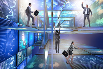 Business people in data management concept