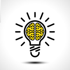 Light bulb idea with brain vector logo template. Corporate icon such as logotype. Creative light bulb idea brain vector