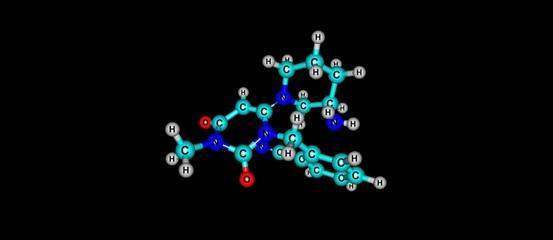 Alogliptin molecular structure isolated on black