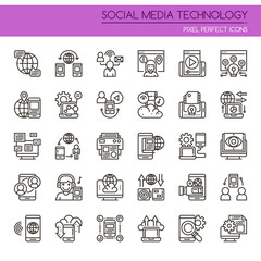 Social Media Technology , Thin Line and Pixel Perfect Icons.