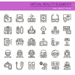 Virtual Reality , Thin Line and Pixel Perfect Icons.