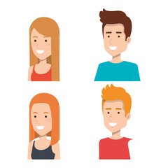 set of style young people smiling portrait vector illustration