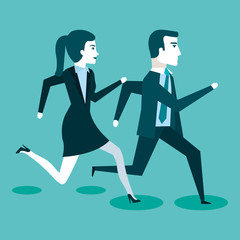 corporate active competition business people on the rush vector illustration