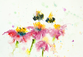 Pink flower and bee , watercolor painting