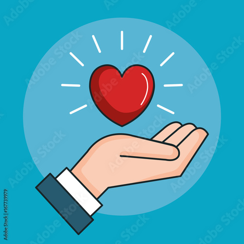 Hand With Heart Love Peace Symbol Vector Illustration Stock Image