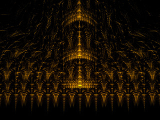 Abstract Fractal Gold Colored Palace