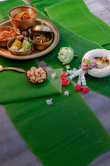 thailand northern food cuisine tradition on banana leaf background.