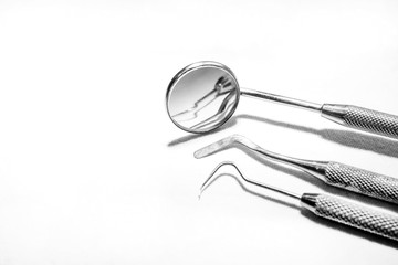 Black and white photo of dental equipment