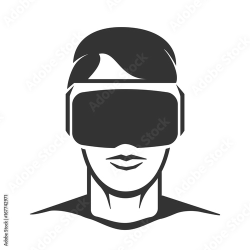 Virtual Reality Man Silhouette Vr Headset Or Wireless Goggles