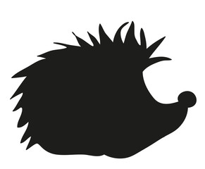 Vector, isolated silhouette hedgehog cartoon