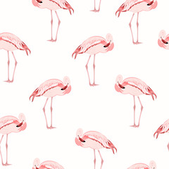 Beautiful exotic pink flamingo wading bird standing posture. Seamless pattern on white background. Vector design illustration for fashion, textile, fabric, decoration.