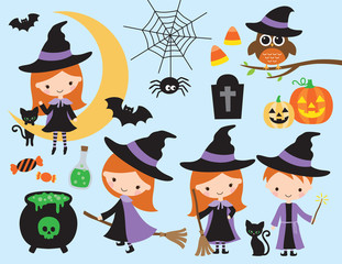 Cute halloween vector with little witch and wizard, black cat, spider, owl, pumpkin, bat and other halloween graphic elements.