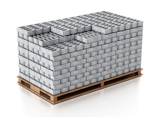 Stack of gray construction bricks standing on wooden base. 3D illustration