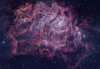 Lagoon Nebula located in the constellation Sagittarius. Elements of this image are furnished by NASA