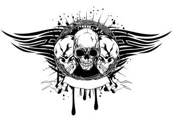 three skulls tribal