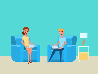 Freelancer work at home concept. Man and woman working at home with laptop on sofa.