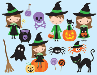Cute halloween vector with little witch and wizard, black cat, spider, ghost, pumpkin, bat, skull, and other halloween graphic elements.
