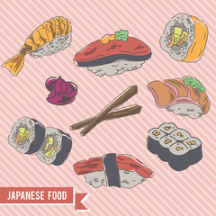 japanese food doodle logo / icon bundle