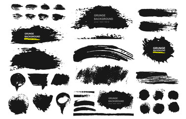 Set of black paint, ink brush, brush. Dirty element design, box, frame or background for text. Line or texture. Vector illustration. Isolated on white background. Blank shapes for your design.