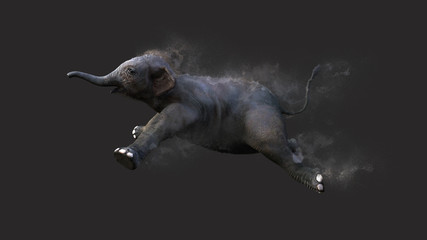 Baby Elephant Moving and Jumping With Dust Particle Effect on Gray Background, 3d Illustration