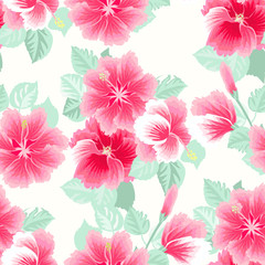 Seamless gorgeous pattern in tropical flowers of hibiscus. Floral exotic background for textile, wallpaper, pattern fills, covers, surface, print, gift wrap, scrapbooking, decoupage.