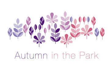 abstract geometry style vector autumn illustration. purple and violet color decorative leaves for surface design, card, invitation, header