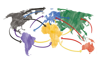 Sketch or handdrawn concept for globalization, global networking, travel or global connection or transportation with connecting arrows.