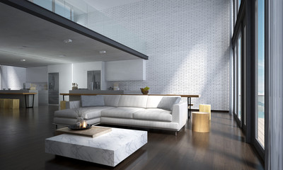 The modern lounge and double space living room interior design and brick wall background