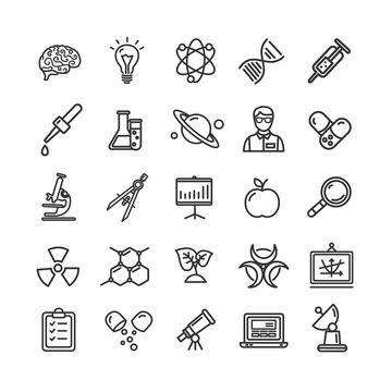 Science Research Thin Line Icon Set Like Microscope, Magnifier, Light Bulb Idea.