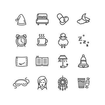 Sleeping and Insomnia Black Thin Line Icon Set. Vector