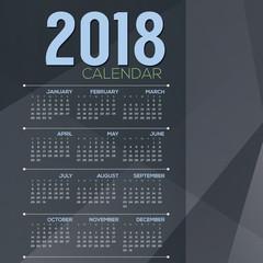 2018 Blue Grey Color tone Printable Calendar Starts Sunday Vector Illustration