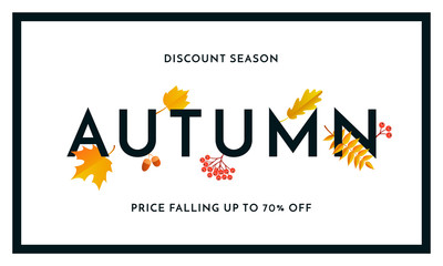 Autumn sale shopping discount vector poster fall maple leaf web banner