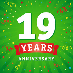 19 years anniversary logo celebration card. 19th years anniversary vector background with red ribbon and colored confetti on green flash radial lines
