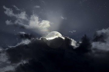 Moonrise in the middle of the clouds