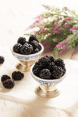 Delicious Blackberries on Rustic Table