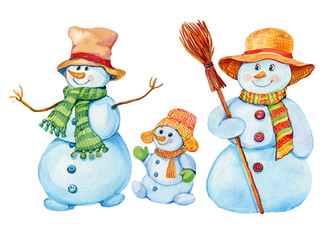 snowman, watercolor, Christmas,