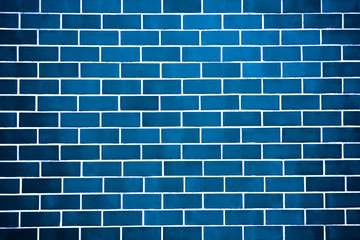 New perfectly blue brick wall background. Best clean brick wall. Close up. Front view.