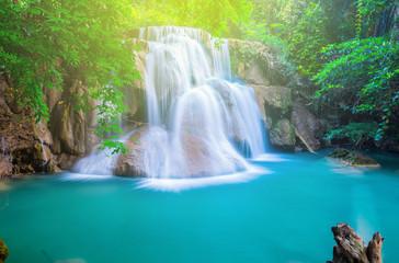 Wall Mural - The beautiful waterfall in the jungle