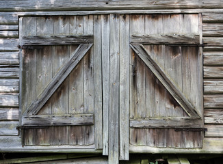 very old barn doors on old shed