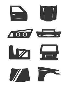 Car body parts icon set