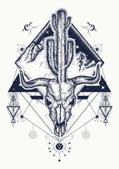 Dream cather tattoo and t-shirt design. Bull skull, cactus, mountains, sacred geometry. Psychodelic art t-shirt design