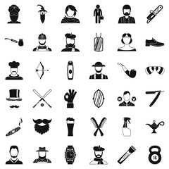 Cutting beard icons set, simple style