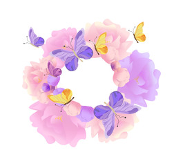 Butterflies and flowers round wreath background Vector. Pastel colors