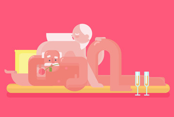 Stylized vector of older couple relaxing