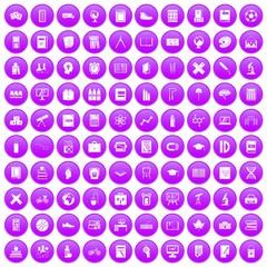 100 school icons set purple