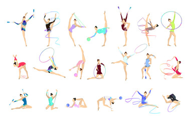 Gymnastics illustrations set.