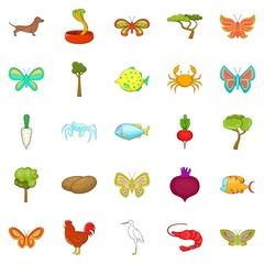 Flower insects icons set, cartoon style
