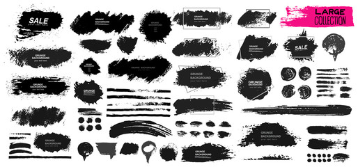 Poster Vormen Large set of black paint, ink brush, brush. Dirty element design, box, frame or background for text. Line or texture. Vector illustration. Isolated on white background. Blank shapes for your design