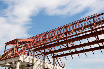 Steel roof frame of building.