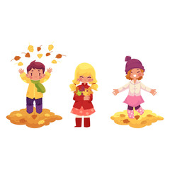 vector kids playing with falling leaves character set. girls ,boy collect autumn falling leaves throw it up in autumn clothing. cartoon isolated illustration on a white background Autumn kids activity